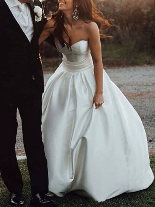 Sweetheart Button Country Wedding Dress