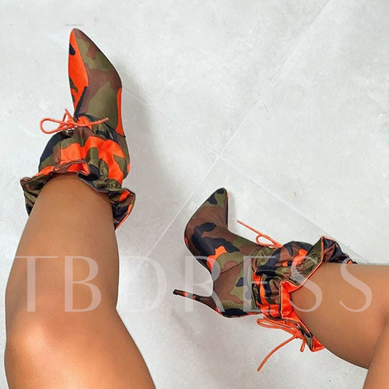 Color Block Stiletto Heel Elastic Pointed Toe Mid Calf Boots