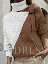 Patchwork Regular Turtleneck Women's Sweater