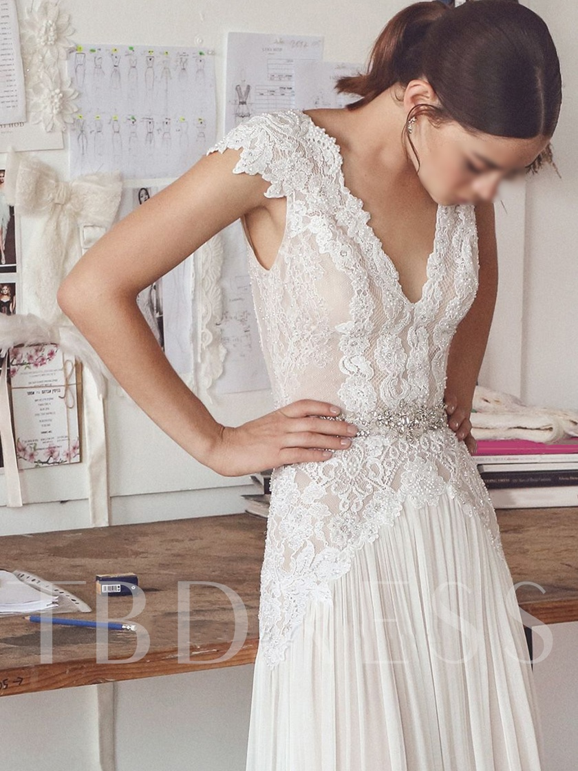 Cap Sleeve Beading Lace Beach Wedding Dress 2020