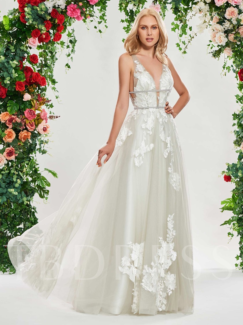 Deep V-Neck Appliques Beach Wedding Dress