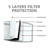 50Pcs PM2.5 Filter 5 Layers of Protective Filter Element Activated Carbon Children's Mask Filter