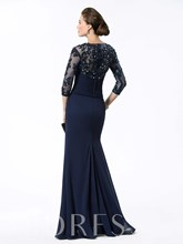 Appliques Sequins Sheath Mother of the Bride Dress with Sleeves