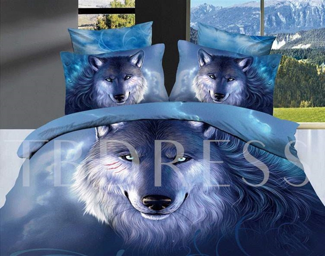 Oil Painting Wolf Cotton 4-Piece Blue 3D Bedding Sets/Duvet Covers