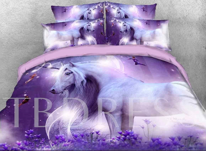 Dream Purple Unicorn Printed Cotton 4-Piece 3D Bedding Sets/Duvet Covers