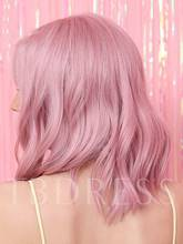 Durable Cosplay Costume Women's Pink Color 130% Density Wavy Synthetic Hair Capless Halloween Wigs 12inch