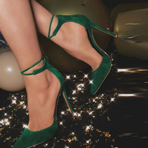 Kelly Green Pointed Toe Strappy Tie Up Heels for Women