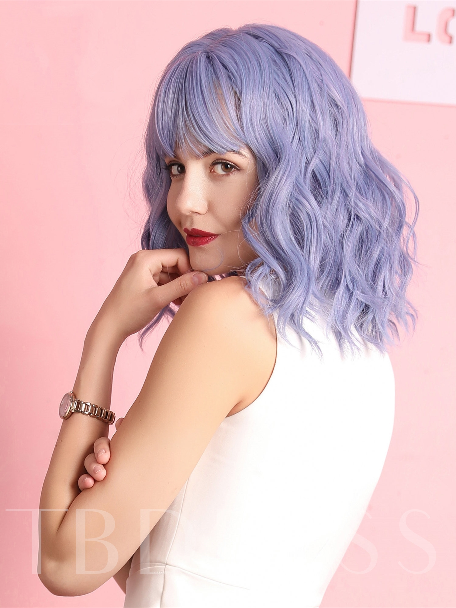 Halloween Women's Cosplay Costume Party Synthetic Hair Wigs 130% Density Wavy Capless Wigs 14Inches