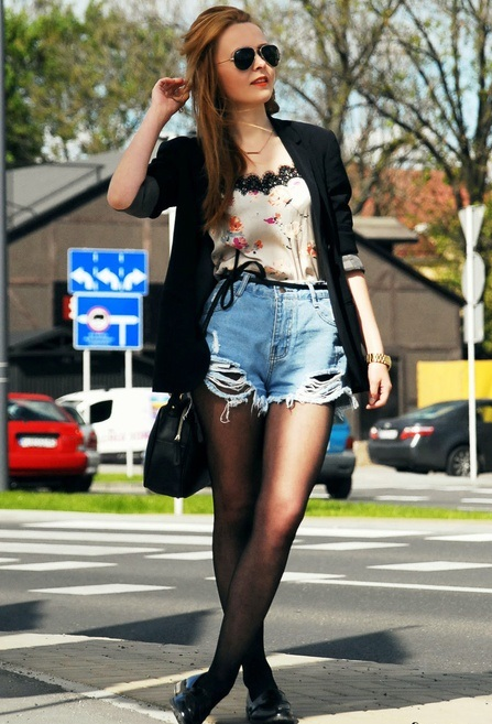 Blue Asymmetrical Jeans shorts 1