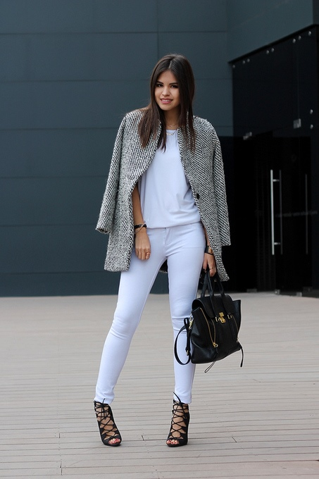 How To Wear Black White Notch Houndstooth Long Sleeve Coat 1
