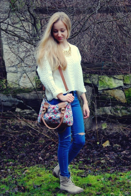 Hipster Style With WHite Half Sleeve Knit Sweater 1