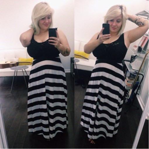 How To Wear Black White Stripe Lace Patchwork Maxi Dress 1