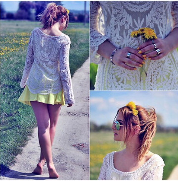 Fashion Outfits with Long Sleeve Lace Blouse 1