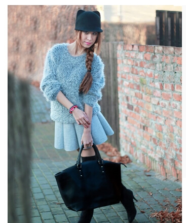 Fashion Styles with Gray Pleated Women Skirt 1