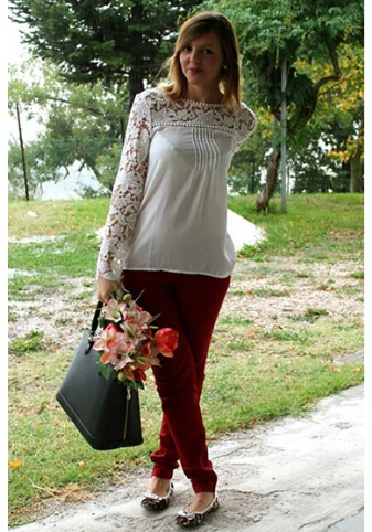 Chic Style with Split Joint Lace Chiffon Blouse 1
