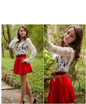 Simply Hollow-out Lace White Blouse 1