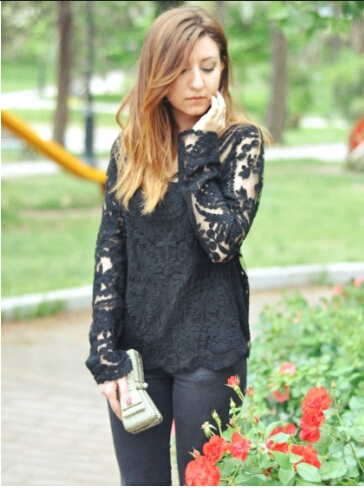 How to Match Simply Hollow Long Sleeve Blouse 1
