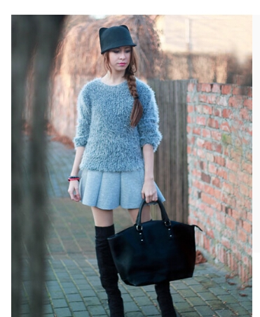 Fashion Outfits with Gray High Waist Skater Skirt 1