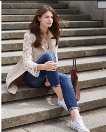 Fashion Style Simply White Long Sleeve Lace Blouse 1