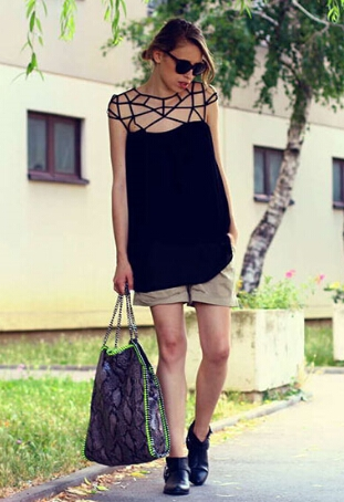 Black Hollow Strap Chiffon Dress  1