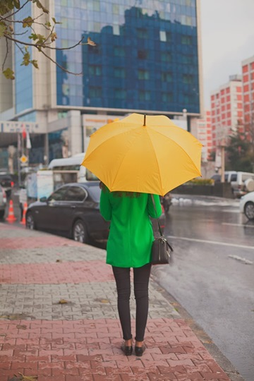 Green Coat Make A Rainy Day Colorful 2