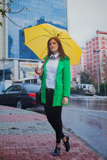 Green Coat Make A Rainy Day Colorful 1